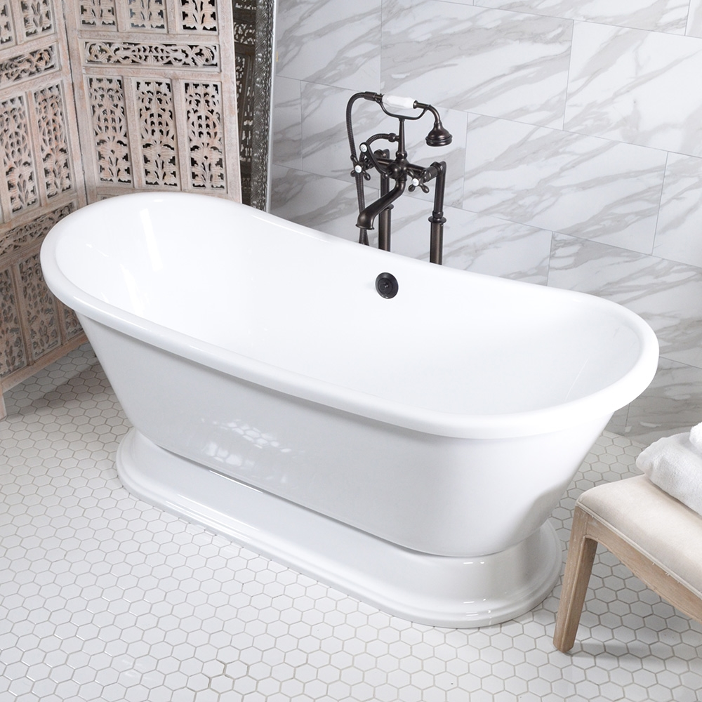 HLBTPD67FPK 67 Hotel Collection French Bateau Pedestal Tub And Faucet Pack